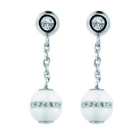 Boucles d'oreilles acier, Boules Ceramique Blanche Lisse et Cristal Blanc