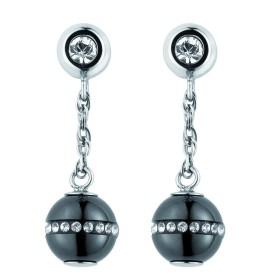 Boucles d'oreilles acier, Boules Ceramique Noire Lisse et Cristal Blanc