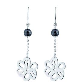 Boucles d'oreilles acier Fleur et Boules Ceramique Noire Facettée