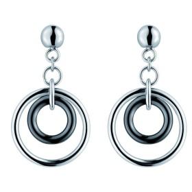 Boucles d'oreilles cercles acier et Ceramique Noire