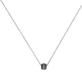 Collier acier, Tonneau Ceramique Noire Lisse et Rail Cristal Blanc