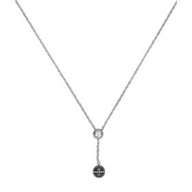 Collier acier, Boule Ceramique Noire Lisse et Rail Cristal Blanc
