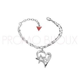 Bracelet Guess Métal Rhodié Double chaîne