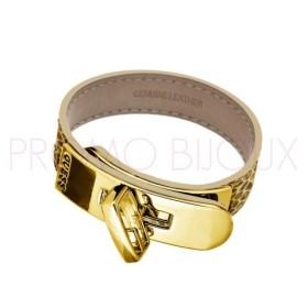 Bracelet Guess Cuir G Turn Métal doré