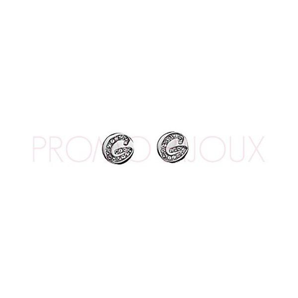 Boucles D'oreilles Guess Set In Stone Argenté Rhodié Puce G