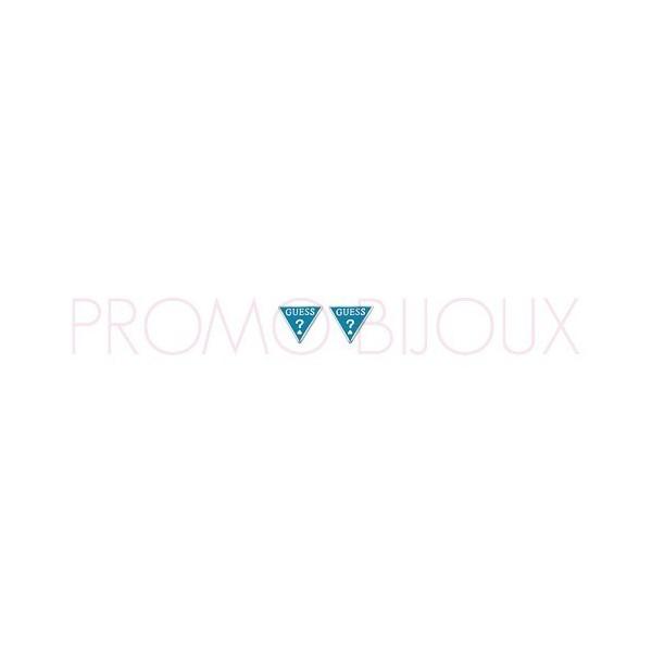 Boucles D'oreilles Guess Puces Triangles Métal Argenté & Turquoise