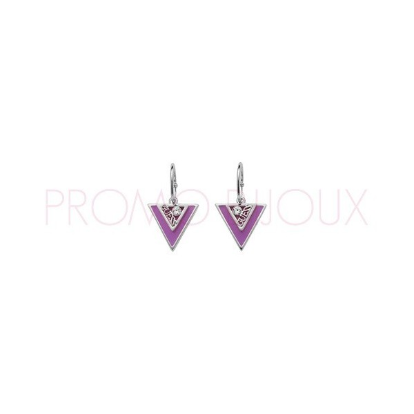 Boucles D'oreilles Guess Dormeuses Triangles - Métal Argenté & Violet