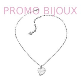Collier Guess Coeur Email Blanc