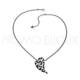 Collier Guess Métal Rhodié Pendentif Coeur Motif Leopard Des Neiges