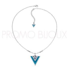 Collier Guess Iconically Triangle Métal Argenté & Bleu Turquoise