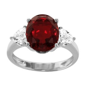 BAGUE ARGENT RHODIE GROSSE PIERRE OVALE ROUGE SYNTH ET 2 OXYDES BLANCS TRIANGLES, bague femme, 066220R