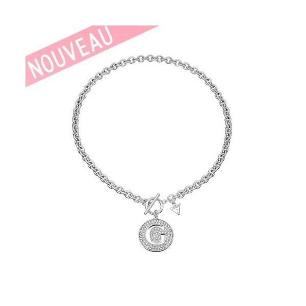 Collier Guess logo G métal argenté - G Girl
