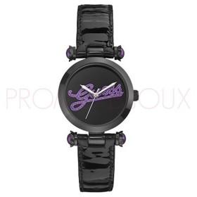 Montre Guess femme Noir - Inscription Violette - Logo Glitz