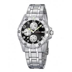 Montre Festina Homme-boitier acier gris-fond noir et argent-bracelet acier gris