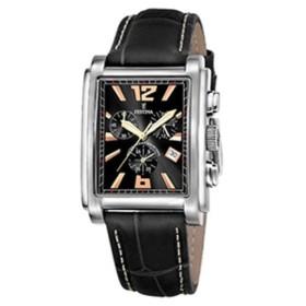 Montre Festina Homme-boitier acier gris-fond noir -bracelet cuir noir