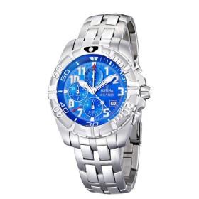 Montre Festina Homme-boitier acier gris-fond bleu -bracelet acier gris