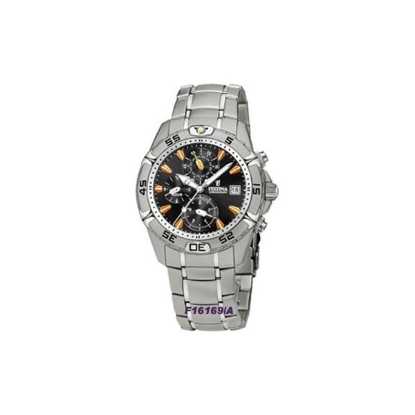 Montre Festina Homme-boitier acier gris-fond noir -bracelet acier gris