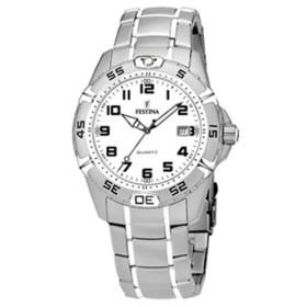 Montre Festina Homme-boitier acier gris-fond blanc et noir -bracelet acier gris