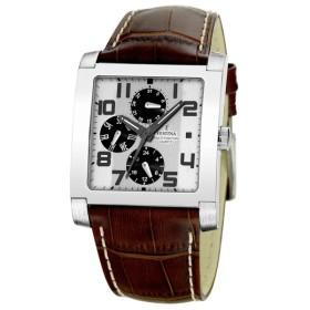Montre Festina Homme-boitier acier gris-fond argent et noir-bracelet cuir marron