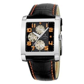 Montre Festina Homme-boitier acier gris-fond argent et noir-bracelet cuir noir