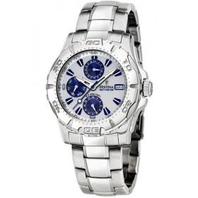 Montre Festina Homme-boitier acier gris-fond argent et bleu-bracelet acier gris