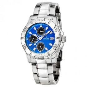Montre Festina Homme-boitier acier gris-fond bleu et noir-bracelet acier gris