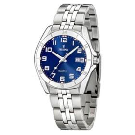 Montre Festina Homme-boitier acier gris-fond bleu et argent-bracelet acier gris