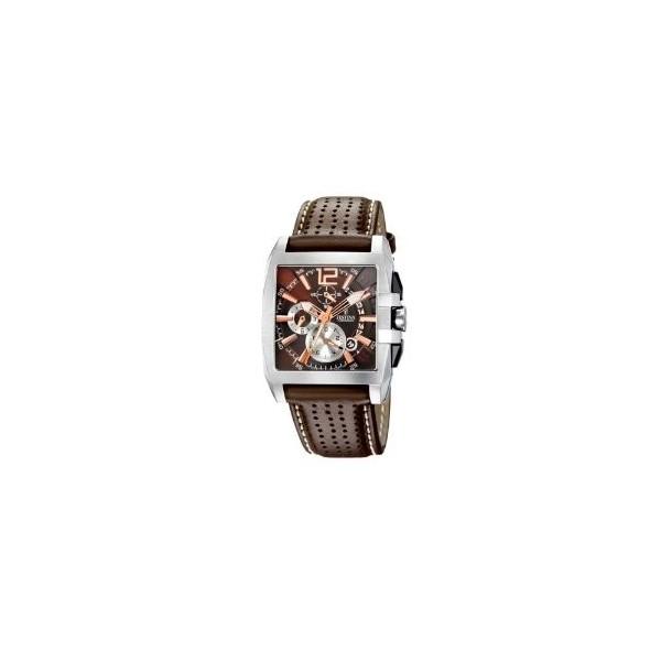Montre Festina Homme-boitier acier gris-fond marron-bracelet cuir noir
