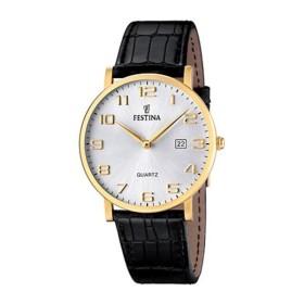 Montre Festina Homme-boitier acier doré-fond argent et doré-bracelet cuir noir
