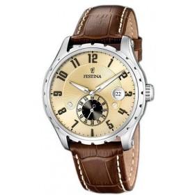 Montre Festina Homme-boitier acier gris-fond doré-bracelet cuir marron