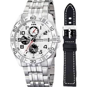 Montre Festina Homme-boitier acier gris-fond gris-bracelet acier gris