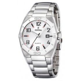 Montre Festina Homme-boitier acier gris-fond argent et noir-bracelet acier gris