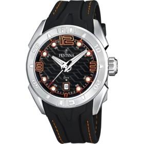 Montre Festina Homme-boitier acier gris-fond noir-bracelet cuir noir