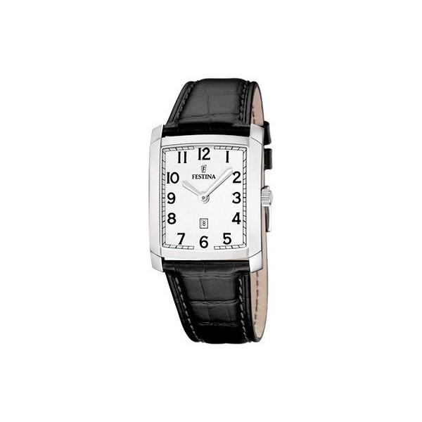 Montre Festina Homme-boitier acier gris-fond argent-bracelet cuir noir