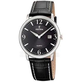 Montre Festina Homme-boitier acier gris-fond noir et argent-bracelet cuir noir