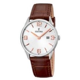 Montre Festina Homme-boitier acier gris-fond argent-bracelet cuir marron