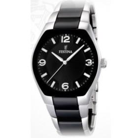 Montre Festina Homme-boitier acier gris et noir-fond noir et argent-bracelet acier noir et argent
