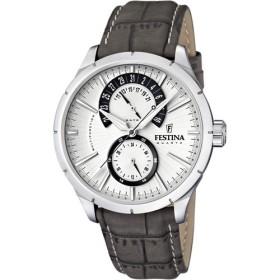 Montre Festina Homme-boitier acier gris-fond argent et noir-bracelet cuir gris