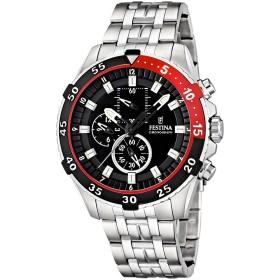 Montre Festina Homme-boitier acier gris noir et rouge-fond noir-bracelet acier gris