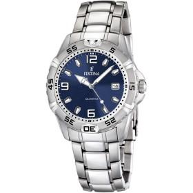 Montre Festina Homme-boitier acier gris-fond bleu-bracelet acier gris