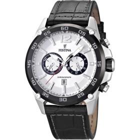 Montre Festina Homme-boitier noir-fond blanc-bracelet cuir noir