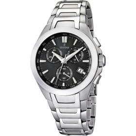 Montre Festina Homme-boitier acier gris-fond noir-bracelet acier gris