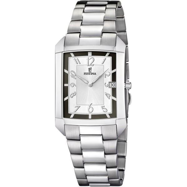 Montre Festina Homme-boitier acier gris-fond argent et noir -bracelet acier gris