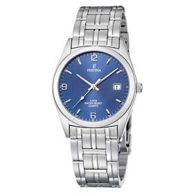 Montre Festina Homme-boitier acier gris-fond bleu et argent -bracelet acier gris