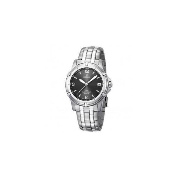 Montre Festina Homme-boitier acier gris-fond noir et argent -bracelet acier gris