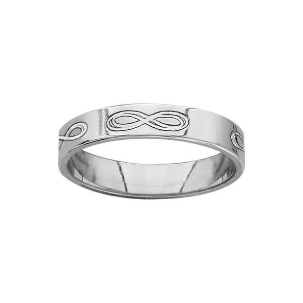 Alliance en Argent Symbole Infini Gravé - Anneau ruban rhodié - 4 MM
