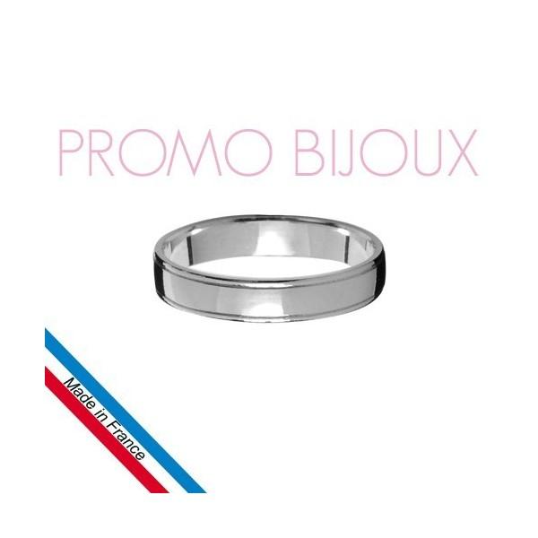 Alliance en Argent Rhodié Diamantée -Ruban - 4 MM