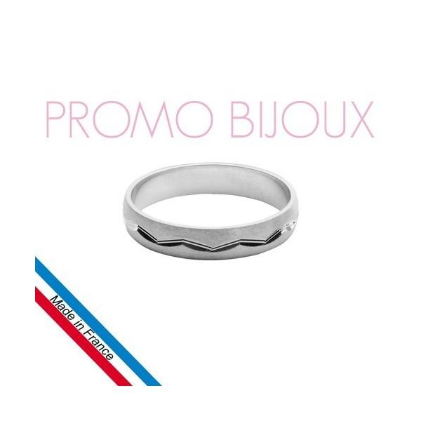 Alliance Argent Rhodié Diamantée Brossée - Largeur 4 Mm