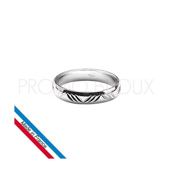 Alliance en Argent Rhodié Diamantée Pour Homme - Largeur 4 Mm