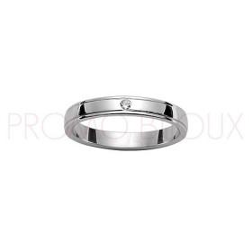 Alliance de Mariage en Argent Rhodié et Diamant [3 Mms]